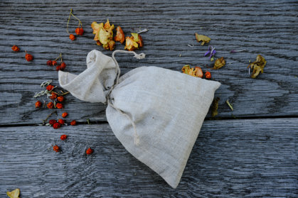 Tea in a linen bag